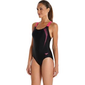 speedo Sports Logo Medalist Swimsuit Women Black/Vegas Pink